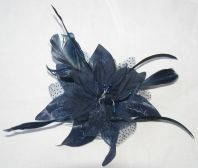 Navy Blue Flower Fascinator